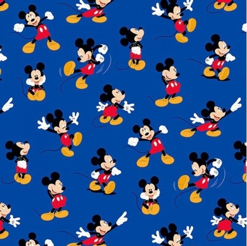 Picture of Disney Mickey Mouse Traditional Packed Mickey Blue Cotton Fabric