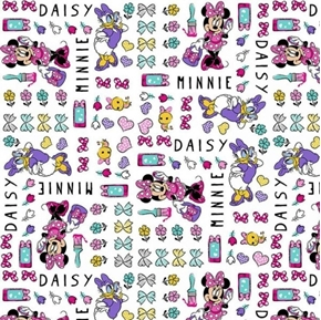 Disney Minnie's Happy Helpers Minnie and Daisy Duck Cotton Fabric