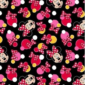 Picture of Disney Minnie Mouse Traditional Minnie Dots Black Cotton Fabric