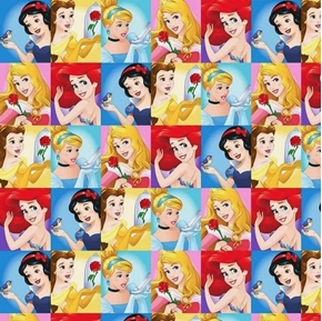 Disney Princess Dream Aurora Belle Cinderella Blocks Cotton Fabric