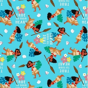 Picture of Disney Moana True to Your Heart Action Blue Cotton Fabric