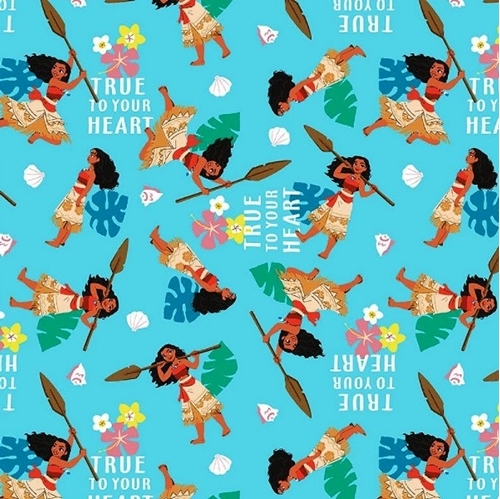 Disney Moana True to Your Heart Action Blue Cotton Fabric