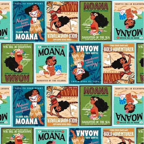 Disney Moana Badges Adventure Posters Cotton Fabric