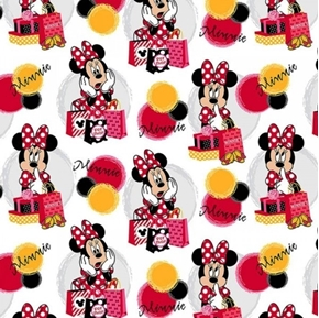 Disney Minnie Mouse Traditional Minnie Shops White Cotton Fabric