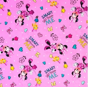Disney Minnie's Happy Helpers Positively Minnie Pink Cotton Fabric