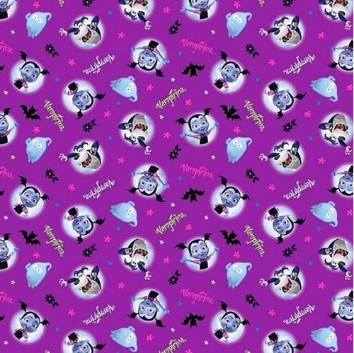 Disney Vampirina And Friends Vee Wolfie Purple Cotton Fabric
