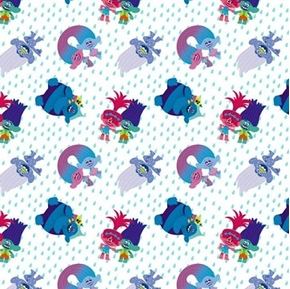 Trolls Friends Toss Poppy Biggie Charm Branch White Cotton Fabric