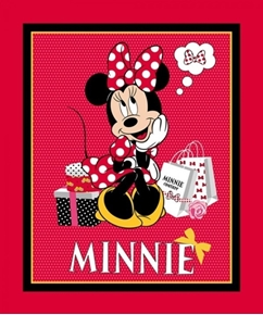 Disney Minnie Mouse Traditional Shopping Large Cotton Fabric Panel