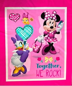 Disney Minnie's Happy Helpers Together We Rock Cotton Fabric Panel