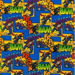 Superman Whack Bam DC Comics Superman Action Patch Cotton Fabric