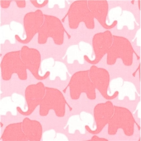 Pink Elephants on Pink Pink and White Elephant Cotton Fabric