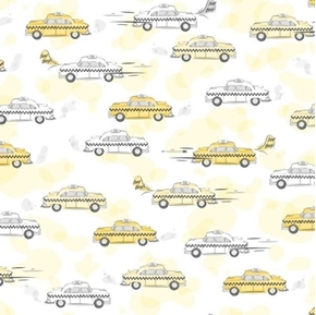 City Life Taxi Cabs Taxis Checkered Cab White Cotton Fabric