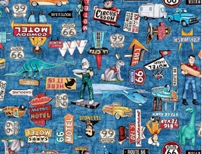 Motorin' Roadside Attractions Route 66 Icons Blue Cotton Fabric