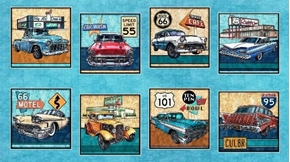 Picture of Motorin' Vintage Cars Rt 66 Picture Patch 24x44 Aqua Fabric Panel