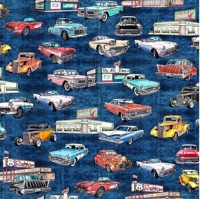 Picture of Motorin' Vintage Cars Rt 66 Roadside Diner Retro Navy Cotton Fabric