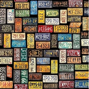 Picture of Motorin' License Plates Traveling United States Black Cotton Fabric