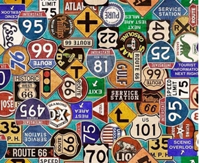 Picture of Motorin' Road Signs Vintage Gas and Highway Signs Aqua Cotton Fabric
