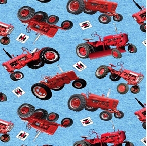 Farmall Heather Ground Tractor Toss Red Tractors on Blue Cotton Fabric
