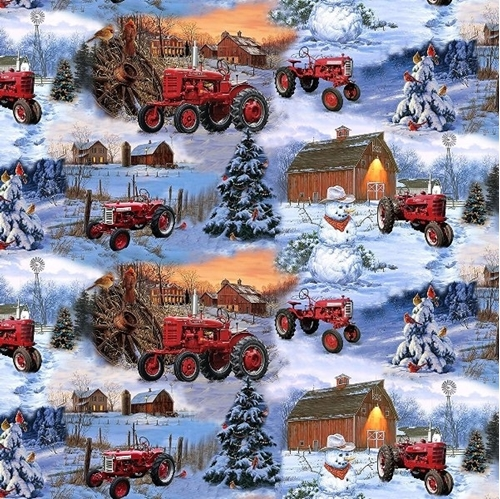 Farmall Tractors Snowman Scenic Winter Farm Tractor Cotton Fabric