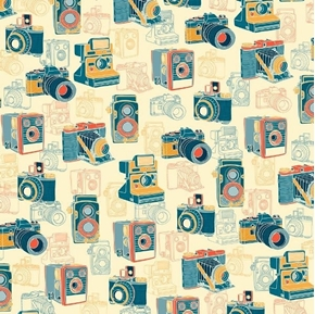 Say Cheese Vintage Cameras Photography Retro Cream Cotton Fabric