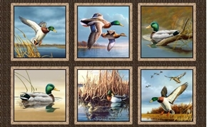 Duck Lake Mallard Ducks Hautman 24x44 Cotton Fabric Panel