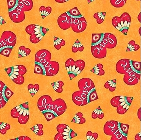 Love Grows Here Love Hearts Valentine Heart Honey Cotton Fabric