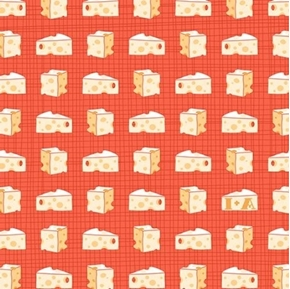 Say Cheese Swiss Cheese Wedges on Orange Cotton Fabric