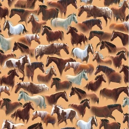 Sundance Many Breeds of Rustic Horses on Beige Cotton Fabric