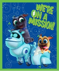 Disney Puppy Dog Pals We're on a Mission Large Cotton Fabric Panel
