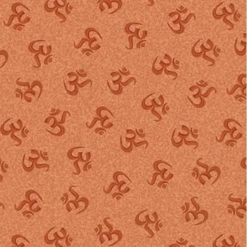 Namaste Yoga Symbolic Tonal Tossed Om Meditation Rust Cotton Fabric