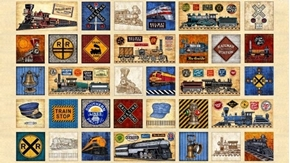 Full Steam Ahead Vintage Train Motif Patch Ecru 24x44 Fabric Panel