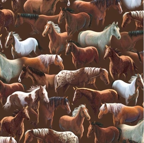 Sundance Many Breeds of Rustic Horses on Dark Brown Cotton Fabric