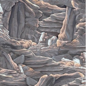 Sundance Rock Formations Canyon Rocks Boulders Grey Cotton Fabric