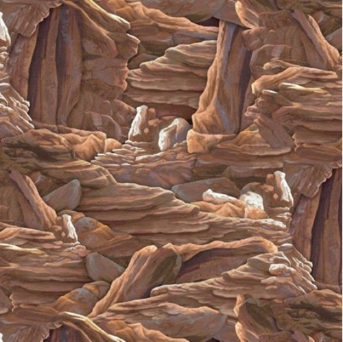 Picture of Sundance Rock Formations Canyon Rocks Boulders Brown Cotton Fabric