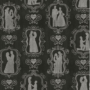 I Do Bride and Groom Silhouettes Wedding Couple Black Cotton Fabric