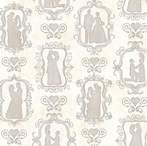 I Do Bride and Groom Silhouettes Wedding Couple Cream Cotton Fabric