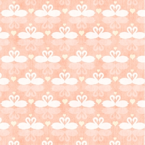 I Do Swans Wedding Love Swan Peach Cotton Fabric