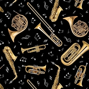 Jazz Brass Instruments Music Notes Sax Trumpet Trombone Cotton Fabric