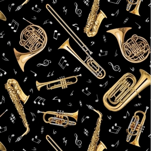 Jazz Brass Instruments Music Notes Sax Trumpet Trombone Cotton Fabric