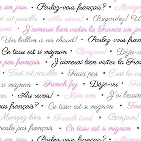 Picture of C'est La Vie French Lingo Paris White Cotton Fabric