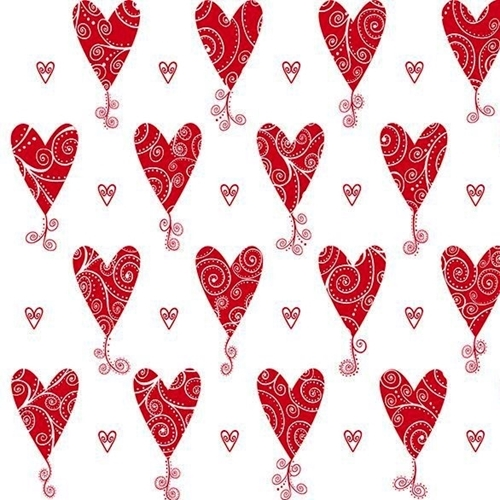 Kick Heart Disease Scroll Hearts Red Heart on White Cotton Fabric