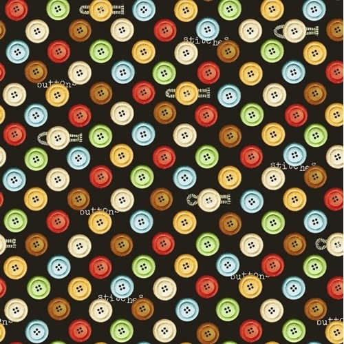 Cotton Fabric - Sewing Fabric - She Who Sews Colorful Buttons and ...