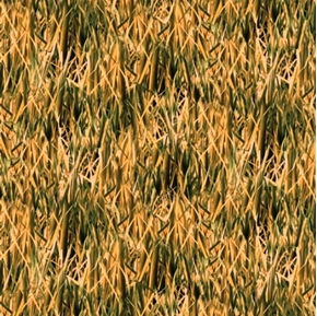 Duck Lake Reeds Grass Natural Textures Green Yellow Cotton Fabric