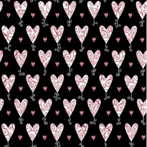 Kick Heart Disease Scroll Hearts Heart on Black Cotton Fabric