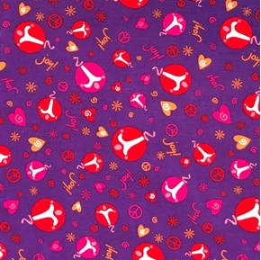 Peace, Love, Joy Symbols and Hearts Purple Cotton Fabric