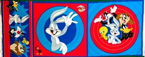 Looney Tunes Bugs Bunny and Friends OOP 18x44 Cotton Fabric Panel Set