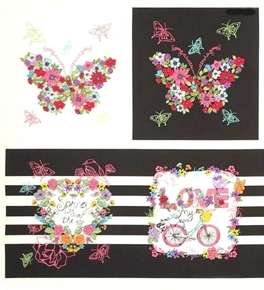 Spring is in the Air Floral Butterfly Bike Block 24x22 Cotton Fabric