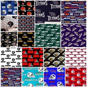 NFL Football 16 AFC Teams 9-inch Cotton Fabric Quilt Square Set