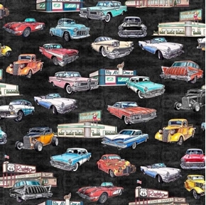 Picture of Motorin' Vintage Cars Rt 66 Roadside Diner Retro Black Cotton Fabric