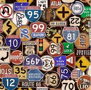 Motorin' Road Signs Vintage Gas and Highway Signs Black Cotton Fabric